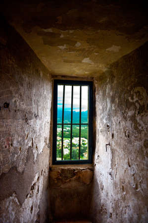 Interior of Tour de Crest in France- View to  the City from Prison