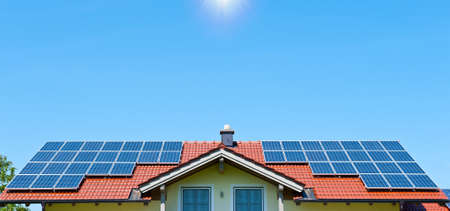 Farmhouse with Solar Panels on the Roof