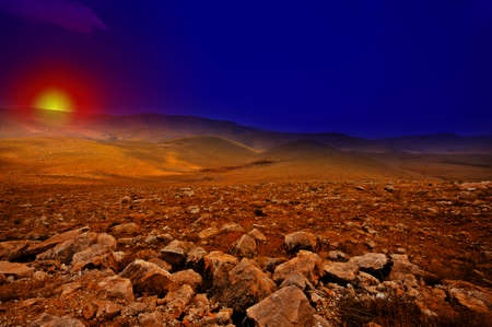 Stone Hills of Samaria, Israel. Sunrise photo