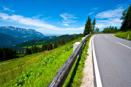 stone road: Panoramastrasse- Asphalt Road in the Bavarian Alps
