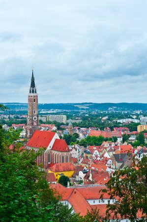 birds eye: Birds Eye View on the Bavarian Town of Landshut, Germany