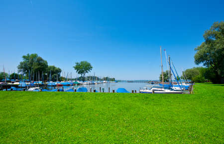 Tarpaulin Covers for Boats, the Lake Chiemsee in Bavaria photo