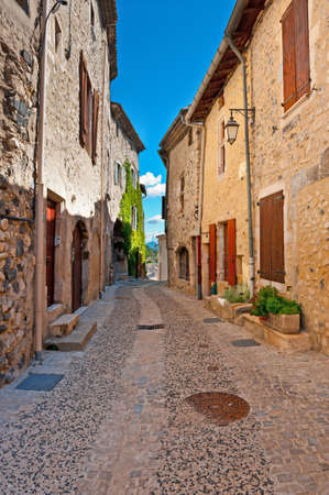 Deserted Street of the French City of Rochemaure Stock Photo - 13014600