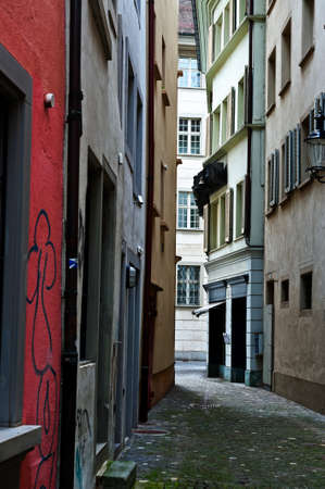 Narrow Alley With Old Buildings In Swiss City of Lucerne photo