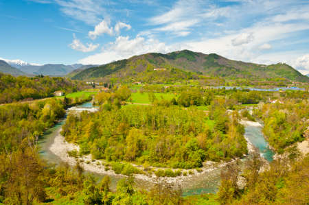 Bend of the River at the Foothills of Italian Alps, Piedmont photo
