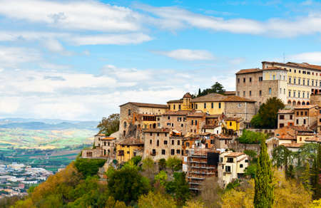 Medieval Town Todi over the Umbrian Valley, Italy photo