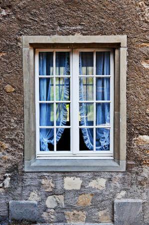 renewed: Simple Window with Blue Curtain, Switzerland