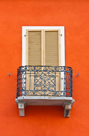 The Renovated Facade of the Old Italian House with Balcony Stock Photo - 14084891