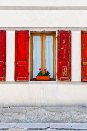 Window on the Facade of the Restored Italian Home Stock Photo - 14085114