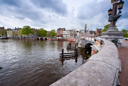amstel river: Bridge over the Amstel River in Amsterdam