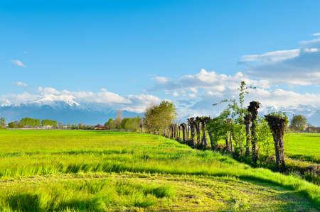 꼭대기가 눈으로 덮인: 눈 덮인 알프스 산맥의 배경에 피에몬테에있는 농가