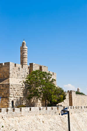 Tower of David and Ancient Walls Surrounding Old City of Jerusalem Stock Photo - 14326720