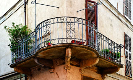 castings: The  Facade of the Old Italian House with Balcony