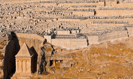 The Tomb of Zechariah and Ancient Jewish Cemetery on the Olive Mountain in Jerusalem Stock Photo - 14376533