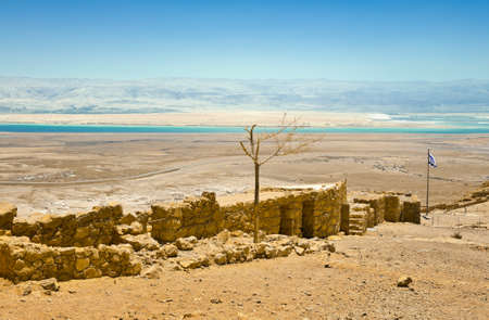 View to the Dead Sea from the Ruins of the Fortress Masada, Israel  photo