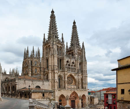 Cityscapes with Gothic Cathedral in Burgos, Spain photo