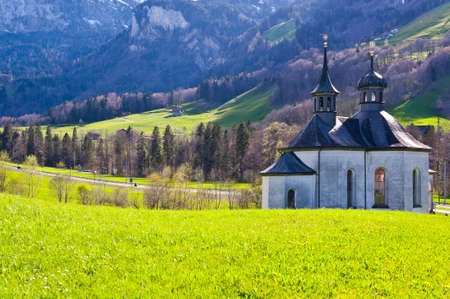 The Church High Up in the Swiss Alps Stock Photo - 14609714