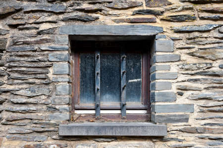 castings: Dirt Window of Old Building In Belgium Stock Photo