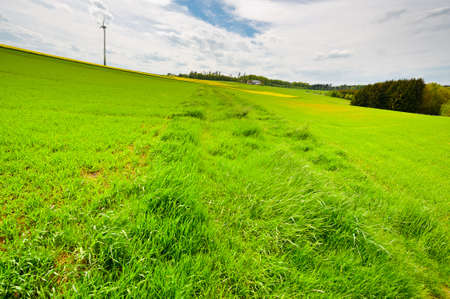 Modern Wind Turbine on the Green Fields, Germany photo
