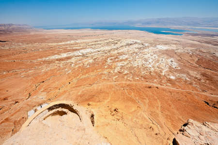 View to the Dead Sea from the Ruins of the Fortress Masada, Israel. photo