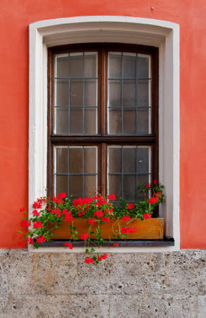 Bavarian Window Decorated With Fresh Flowers Stock Photo - 14849451