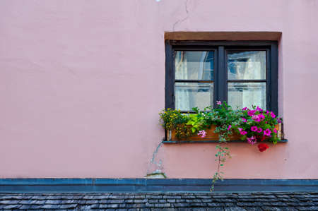 Typical Bavarian Window  Decorated With Fresh Flowers Stock Photo - 14887603