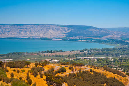 View from Galilee Mountains to Galilee Sea, Kinneret Stock Photo