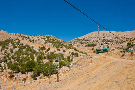 the golan heights: Ski Lift in the Golan Heights in the off Season Stock Photo