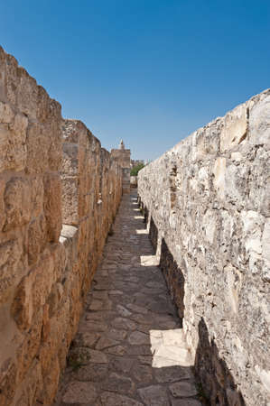 Tower of David and Ancient Walls Surrounding Old City of Jerusalem Stock Photo - 15032632