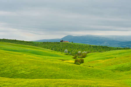 Farmhouse and Church over Green Sloping Meadows of Tuscany photo