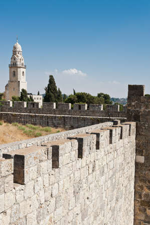 View to  Bell-Tower on Mount Zion from Ancient Walls  of Jerusalem Stock Photo - 15036528