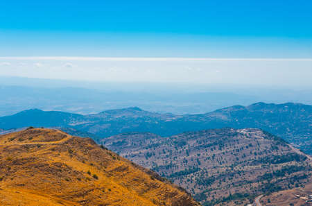 nature reserves of israel: View from Mount Hermon to the Golan Heights, Israel Stock Photo