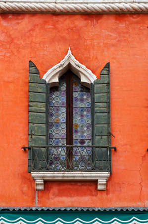 Venetian Window on the Facade of the Restored Italian Home Stock Photo - 15354174
