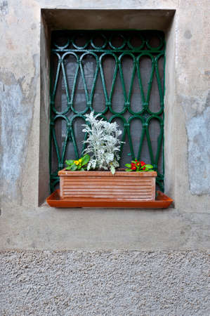 Window on the Facade of the Restored Italian Home Stock Photo - 15354203