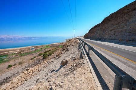 Asphalt Road along the Coast of Dead Sea, Israel Stock Photo - 15538590