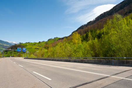 autobahn: Modern Asphalt  Road in the Swiss Alps