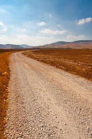 Dirt Road between Plowed Fields in Israel, Spring Stock Photo - 15933979