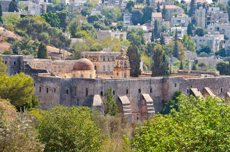 jewish houses: Monastery of the Cross in Jerusalem on the Background of Old City