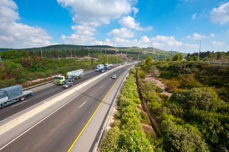 Traffic on a Modern Highway in in Israel Stock Photo - 16002254