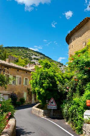 renewed: Deserted Street of the French City of Saint-Montan  Stock Photo