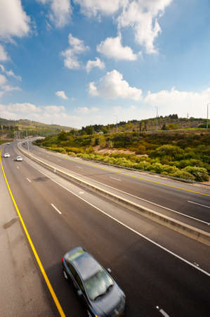 Traffic on a Modern Highway in in Israel photo