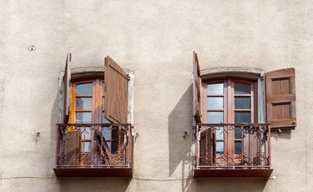 Two French Windows on a Stucco  Wall Stock Photo - 16401632