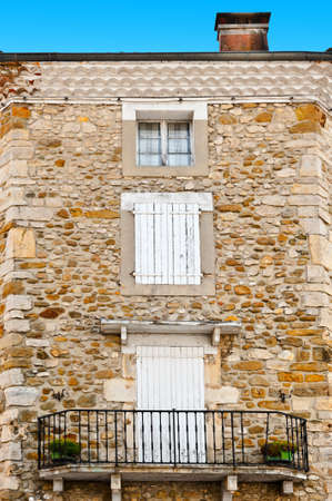 Several  Windows on the Facade of  French Home Stock Photo - 16401626