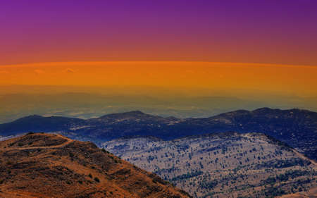 Mount Hermon on the Golan Heights, Israel, Sunset