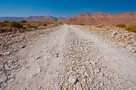 Road in the Judean Desert on the West Bank of the Jordan River Stock Photo - 16493269