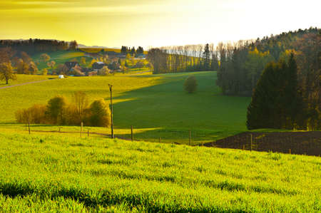 The Small Village High Up in the Swiss Alps, Sunrise Stock Photo - 16689238