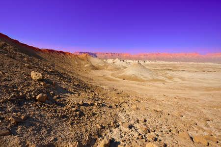 vadi: Desert on the West Bank, Sunset Stock Photo