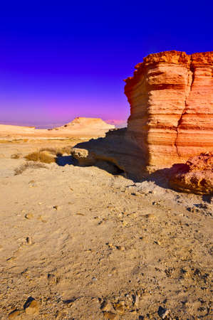 Canyon in the Judean Desert, Sunset photo
