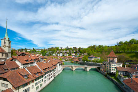 Birds Eye View on the Roofs of the City of Berne and River Aare