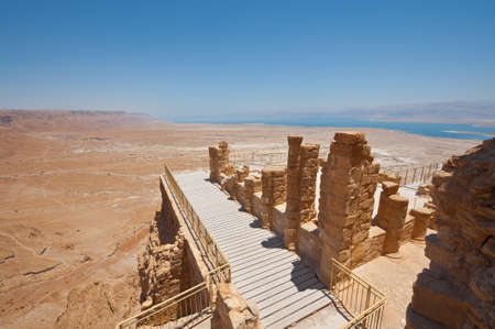 View to the Dead Sea from the Ruins of the Fortress Masada, Israel.